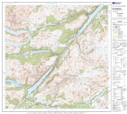 OS Landranger 034 - Fort Augustus, Glen Roy & Glen Moriston - FLAT Rolled in a Tube